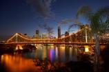 Australasia;Australia;Australian;Brisbane;Brisbane-River;dark;dusk;evening;light;lights;night;night-time;night_time;nightfall;palm;palm-tree;palm-trees;palms;Petrie-Bight;Qld;Queensland;river;rivers;sky;Story-Bridge;twilight