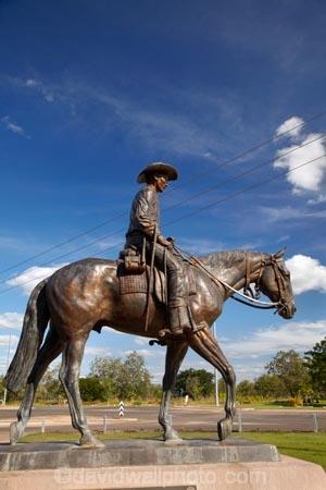Australasia;Australia;bronze-statue;cattle-pioneers;horse;horseman;horses;Katherine;memorial;memorials;N.T.;Northern-Territory;NT;pioneer-memorial;statue;statues;stockman-on-horse;Stockman-Statue;Top-End