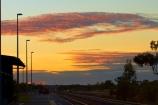 Australasia;Australia;dusk;evening;Katherine;Katherine-Railway-Station;Katherine-Train-Station;last-light;N.T.;nightfall;Northern-Territory;NT;orange;platform;platforms;rail-station;rail-stations;railroad;railroads;railway;railway-station;railway-stations;railways;skies;sky;sunset;sunsets;Top-End;train;train-station;train-stations;trains;transportation;twilight