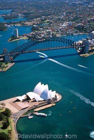 aerial;aerials;architecture;Australia;boat;boats;Bridge;bridges;ferries;ferry;harbor;harbors;Harbour;harbours;House;Opera;Sydney;wake