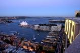 View;Sydney;Cove;Opera;House;Shangri_La;Hotel;Australia;circular;quay;ferry;passenger;sydney;cove;harbor;harbors;harbours;commute;commuters;wharf;wharves;jetty;dusk