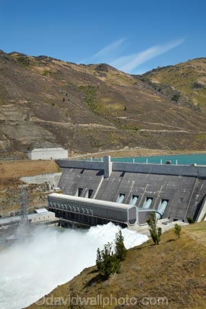 Central-Otago;Clyde;Clyde-Power-Station;Lake-Dunstan;N.Z.;New-Zealand;NZ;overflow;power-house;powerhouse;S.I.;SI;South-Is.;South-Island;spray