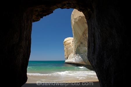 Sea cave, beach and cliffs, Tunnel Beach, Dunedin, South ...