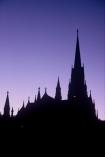 silhouette;spire;spires;purple;violet;cross;crosses;mauve;historic;historical