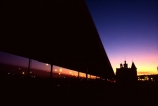 sunset;dusk;colour;color;colours;colors;covered-walkway;cover;platform;silhouette;night;evening;twilight