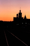 sunset;dusk;colour;color;colours;colors;silhouette;night;evening;twilight;skyline;towers;turrets;spires;orange