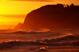coast;shore;beach;beaches;headland;promontory;color;colour;colors;colours;orange;dawn;sunset;surf;breakers