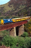bridge;bridges;train;trains;carriage;carriages;historic;historical;high;yellow;steel;rail;excursion;tourism;transport;travel