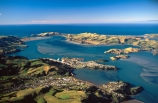 harbor;harbors;harbours;view;scenary;city;port-of-dunedin;port-of-otago;dunedin-harbour;sea;the-Heads;Taioroa-Heads;entrance;channel;aerials;Port-Chalmers;settlement;Pacific-Ocean;horizon