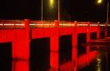 rivers;bridges;water;transport;red;night;dark;transportation;traffic-flow;flows;waterway;structure