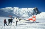 hut;huts;peak;pinnacle;snow;glacier;ski-plane;ski-planes;snow-plane;alpine;mountain;mountains;people;tourists;tourist;tourism;tasman-saddle;southern-alps;main-divide;planes