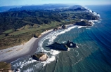 aerial;aerials;sea;ocean;tasman-sea;cape-farewell;coast;coastal;coastline;shore;shoreline;shore-line;coast-line;beach;beaches;sand;west-coast;Wharariki-Beach;south-island;new-zealand