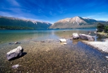 beach;beaches;blue-sky;clean;clear;clear-sky;clear-water;forest;forests;fresh;gravel;gravelly;lake;Lake-Rotoiti;lakes;mountain;mountains;national-park;national-parks;natural;nelson-lakes;Nelson-Lakes-National-Park;pure;south-island;stone;stones;stoney;transparent;untouched;water