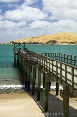 Jetty at Omapere and Sand Dunes, Hokianga Harbour, Northland