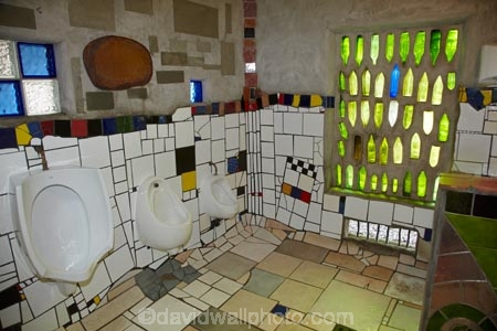 Inside the famous Hundertwasser toilets, Kawakawa, Bay of Islands ...