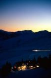 afterglow;complex;dusk;evening;glow;lights;lit;lodge;lodges;mountains;night;outline;ridge;ridges;ski-field;ski-resort;skifield;sunset