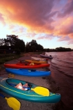 lakes;water;kayaks;kayaking;kayak;tranquil;tranquility;peaceful;peace;peacefulness;beach;beaches;colour;colours;color;colors;green;red;blue;aqua;pure;boat;boats;dusk;evening;rest;pause;ashore