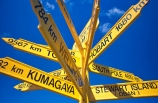 blue-sky;color;colors;colour;colours;direction;directions;distance;distances;foveaux-strait;hobart;kumagaya;oban;ocean;road;roads;sea;sign;sign-post;signs;south;south-pole;southern;stewart-island;transport;wellington;yellow