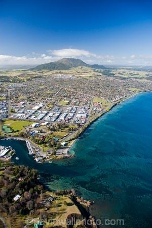 Taupo Lake Taupo And Waikato River North Island New Zealand Aerial