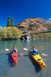 kayak;kayaks;kayaking;kayaker;kayakers;vibrant;colour;holiday;vacation;relax;recreation;recreational;shadow;shadows;water;lake;paddle;paddling;river;central-otago;bridge;red-kayak;red-kayaks;yellow-kayak;yellow-kayaks;shallow;shallow-water;riverbed;front