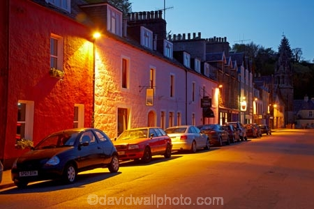 Argyll-and-Bute;Britain;dusk;evening;G.B.;GB;Great-Britain;Highlands;Inner-Hebrides;Island-of-Mull;Isle-of-Mull;Main-St;Main-Street;Mull;Mull-Island;night;night-time;Scotland;Scottish-Highlands;terrace-house;terrace-houses;terraced-house;terraced-houses;Tobermory;twilight;U.K.;UK;United-Kingdom