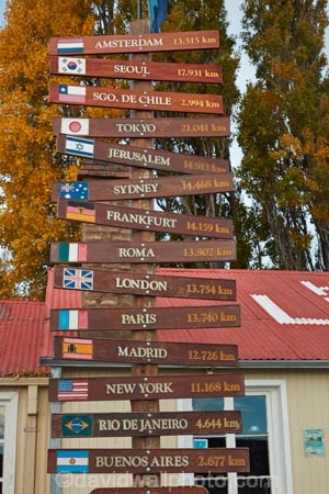 buy online 51a47 d963c Distance sign at Hotel La Leona, Route 40, Patagonia ...