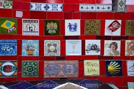 Tiles at Escadaria Selaron (Selaron Steps), by artist Jorge Seralon ...