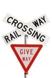 cross;crosses;give-way-sign;level-crossing;level-crossings;N.Z.;New-Zealand;NZ;rail;rail-crossing;rail-crossings;railroad;railroads;railway;railway-crossing;railway-crossings;railways;sign;signage;signs;tracks;train;trains;transport;transportation;warning;warning-sign;warning-signs;x;cutout