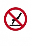 No;diving;Warning;sign;red;black;cutout;cut;out