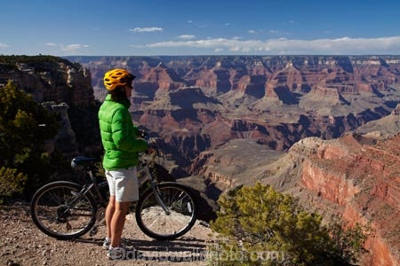 Cyclist on South Rim Trail, and Grand Canyon, Grand Canyon National