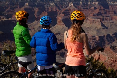Cyclists on South Rim Trail, and Grand Canyon, Grand Canyon
