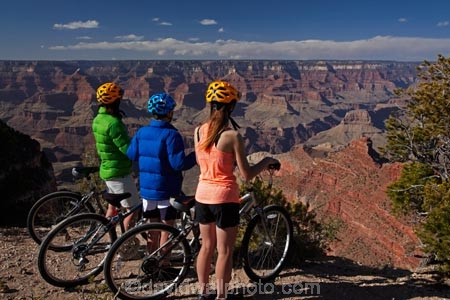Cyclists on South Rim Trail, and Grand Canyon, Grand Canyon National
