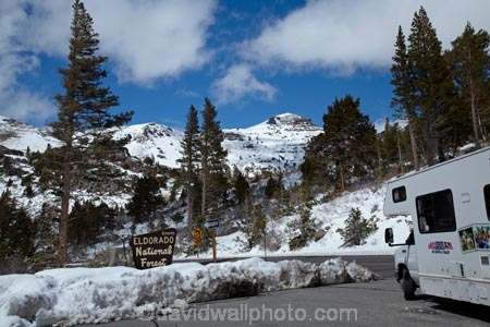 RV and snow at summit of Carson Pass Highway (SR 88), 8,574