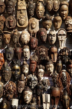 Mask stall at African curio market, Greenmarket Square