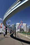 mono;rail;flag;flags;pedestrian;tourist;tourists;tourism;train;trains;commuter;commute;modern;bridges;harbor;harbours;harbors;future;futuristic;office;offices;city;cities;transport;transportation