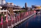 Cockle;Bay;Wharf;Darling;Harbour;Sydney;Australia;harbor;harbors;harbours;waterfront;flag;flags;restaurants;restaurant;cafe;cafes;tourism;tourists;tourist