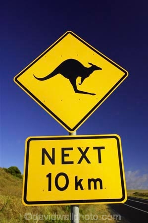Kangaroo Warning Sign, near 12 Apostles, Great Ocean Road