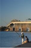 Auckland;Auckland-Harbour-Bridge;bridge;bridges;fisher;fisherman;fishermen;fisherwoman;fishing;fishing-rod;fishing-rods;leisure;N.I.;N.Z.;New-Zealand;NI;North-Island;NZ;pastime;recreation;recreational;relaxing;rod;rods;sport;Waitemata-Harbor;Waitemata-Harbour