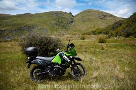 Kawasaki KLR650 adventure bike, Nevis Valley, Central Otago