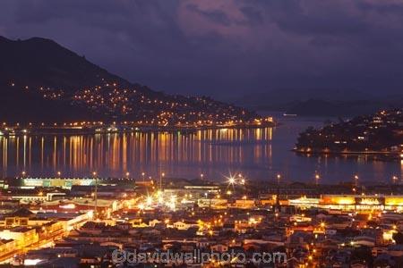 Otago Harbour And Dunedin At Night Otago South Island