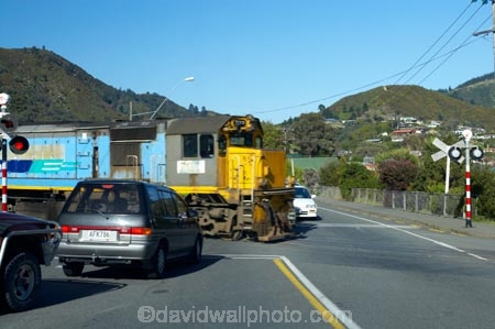 Train at Level Crossing, Picton, Marlborough, South Island