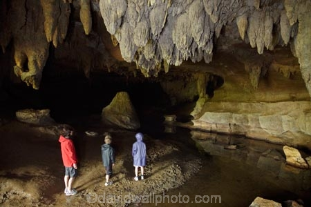 People in Waipu Caves, near Whangarei, Northland, North