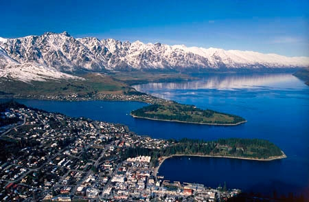View over Queenstown, Lake Wakatipu, and The Remarkables