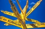 blue-sky;color;colors;colour;colours;direction;directions;distance;distances;foveaux-strait;hobart;kumagaya;oban;ocean;road;roads;sea;sign;sign-post;signs;south;south-pole;southern;stewart-island;transport;wellington;yellow