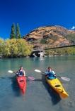 kayak;kayaks;kayaking;kayaker;kayakers;vibrant;colour;holiday;vacation;relax;recreation;recreational;shadow;shadows;water;lake;paddle;paddling;river;central-otago;bridge;red-kayak;red-kayaks;yellow-kayak;yellow-kayaks;shallow;shallow-water;riverbed;front