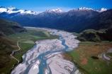 mountain;mountains;valley;valleys;matukituki-valley;river;rivers;swirl;swirly;sand;sandy;riverbed;aerial;aerials;boat;boats;jet-boats;jet-boat