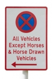 Arrowtown;New-Zealand;no;parking;stopping;No-stopping-except-horses;NZ;Otago;sign;South-Island;cutout;cut;out;except;horses