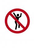 No;Jumping;Warning;sign;red;black;cutout;cut;out
