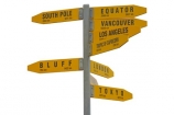 Cape-Reinga;Direction;New-Zealand;North-Island;Northland;NZ;sign;signpost;signs;cutout;cut;out;south-pole;equator;vancouver;los-angeles;Tropic-of-Capricorn;Bluff;London;Sydney;Tokyo
